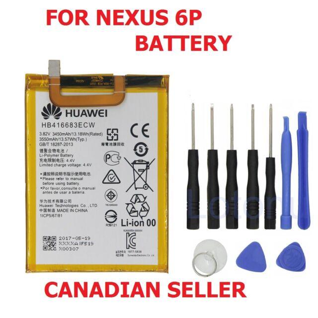 New OEM Huawei Google Nexus 6P Internal Battery HB416683ECW 3450mAh + Tools