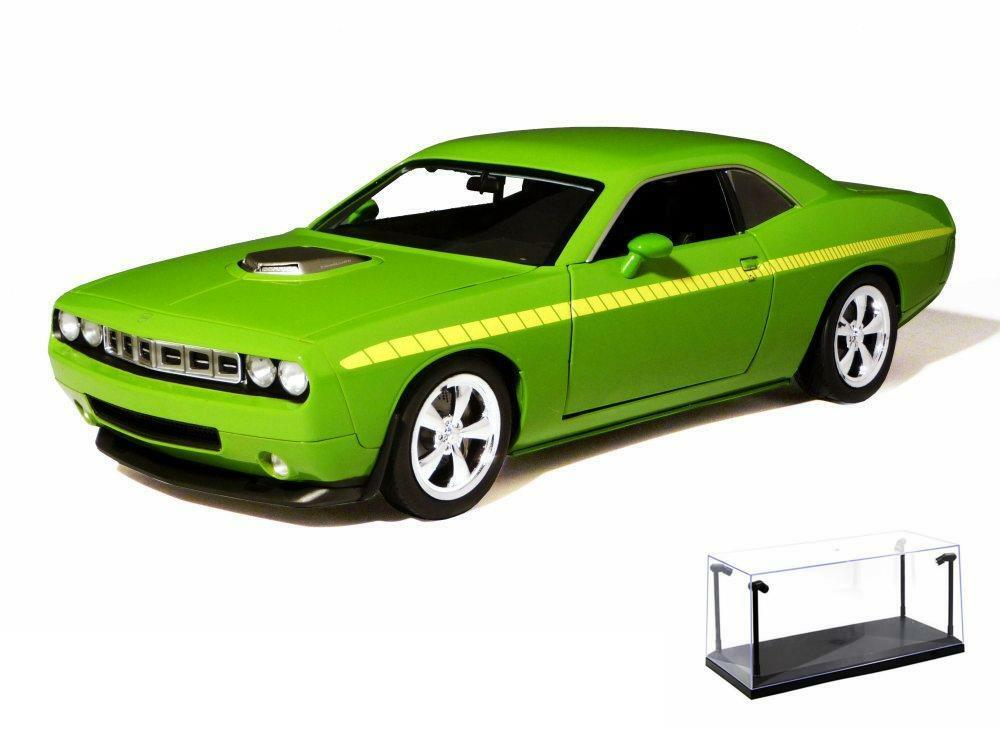 DIECAST CAR & LED CASE PLYMOUTH CUDA CONCEPT LIME HIGHWAY 61 50840 1/18 DIECAST