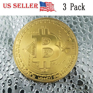 3PC-Gold-Bitcoin-Commemorative-Round-Collectors-Coin-Gold-Plated-US-Ships