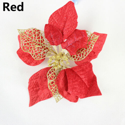 20cm Poinsettia Christmas Tree Hanging Flower Glitter Party Decoration 2019