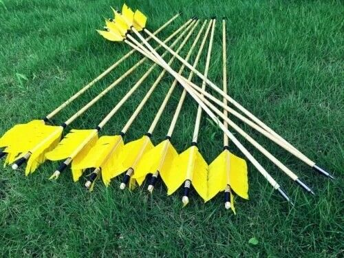 6PK12PK Handmade Yellow Flu flu arrow wooden arrows real feather Target Arrows