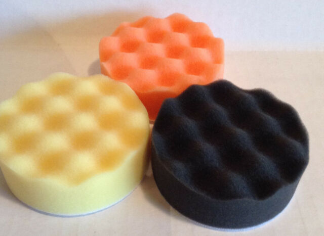 Foam buffing and polishing pads Velcro® backed set of 3 - 3in. diameter pads