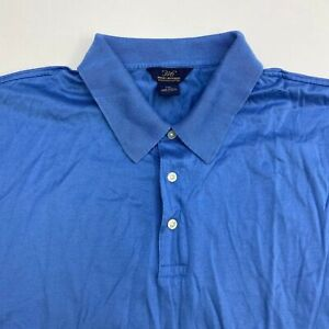 Brooks-Brothers-346-Polo-Shirt-Men-039-s-2XL-XXL-Short-Sleeve-Blue-Mercerized-Cotton