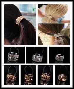 Women Gothic Punk Fake Metal Hair Cuff Ponytail Clip Ponytail Holder