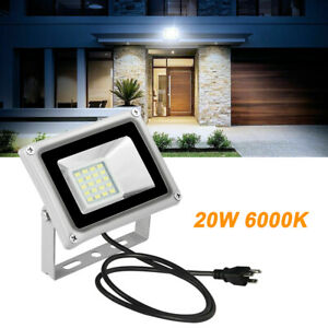 20-W-US-Plug-LED-Flood-Light-White-Outdoor-Floodlight-Lamp-Garden-Lighting-110V