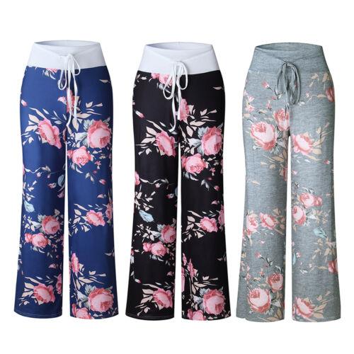 Pantaloni donna con casual pigiama coulisse larga gamba per in con floreale stampa e rqqREX