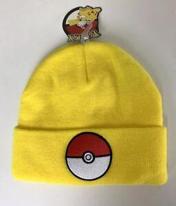 Bioworld Pokemon Pokeball Yellow Cuff Beanie Winter Hat