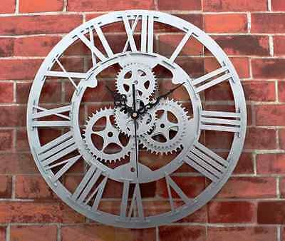 Modern Home Decor Clock Large Round Metal Color Wall Vintage Steampunk Skeleton