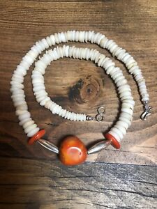 """Vintage Coral Puca 19"""" Necklace, Navajo Handmade Sterling Silver Melon Beads 925"""