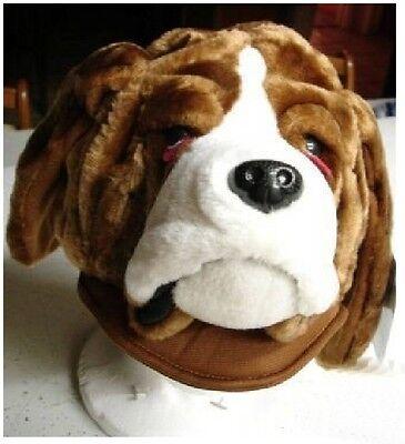 DOG HAT plush hound pound ADULT bulldog men women for humans costume animal cap