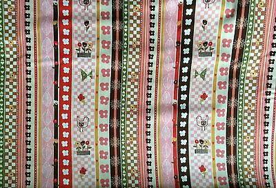 P & B Craft Sewing Quilt Village Green (00574)  Pink Stripe Fabric BTY