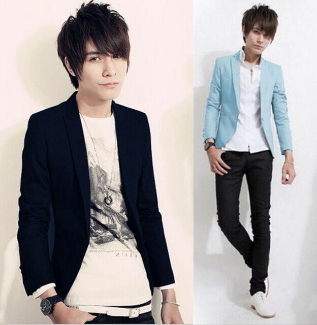 Fashion Mens Korean Slim Fit Casual Top Suit Coat Jacket Blazer Outwear Clothes