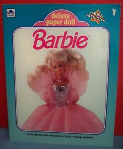 A Golden Book Barbie Deluxe Paper Doll Set Pre-Cut Never Used 1992 Mattel Clean