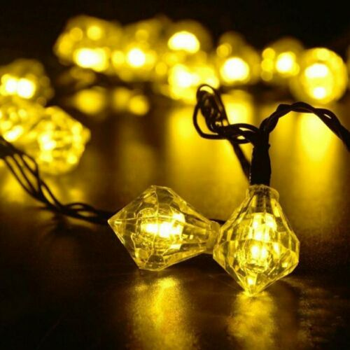 20 LED Solar Powered Diamond Fairy String Light for Party Outdoor Garden Decor