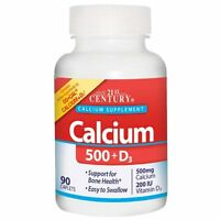 3 Pack Calcium 500 + D3 500 Mg / 200 Iu 90 Caplets By 21st Century on sale