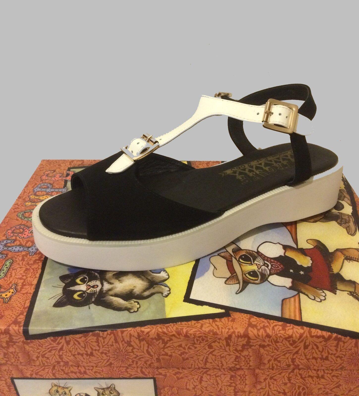 F-Troupe femmes noir blanc Motif Cuir Daim chaussures Sandales Sz US 10 EU 40