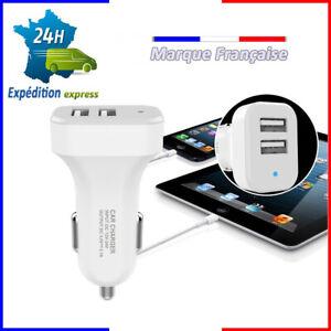 Chargeur Tel Voiture Smartphone Usb Allume Cigare Double Cable Iphone Samsung .. La DernièRe Mode