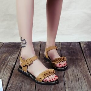 Womens-Flat-Casual-Slingback-Sandals-Open-Toe-Buckle-Summer-Beach-Shoes-Fashion