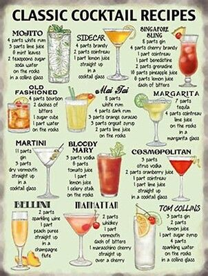 FABULOUS VINTAGE ART DECO STYLE METAL WALL SIGN PLAQUE COCKTAIL RECIPE *MOJITO*