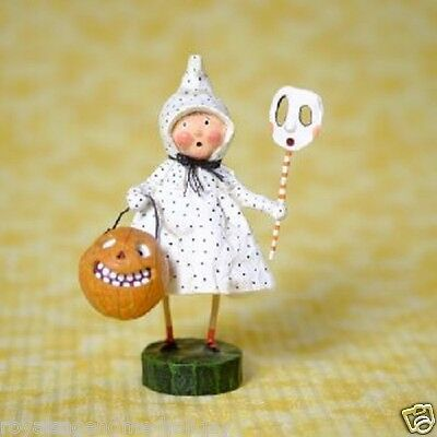 36197 Polk-a-Dottie Boo Lori Mitchell Folk Art Figurine Halloween w/Mask Pumpkin