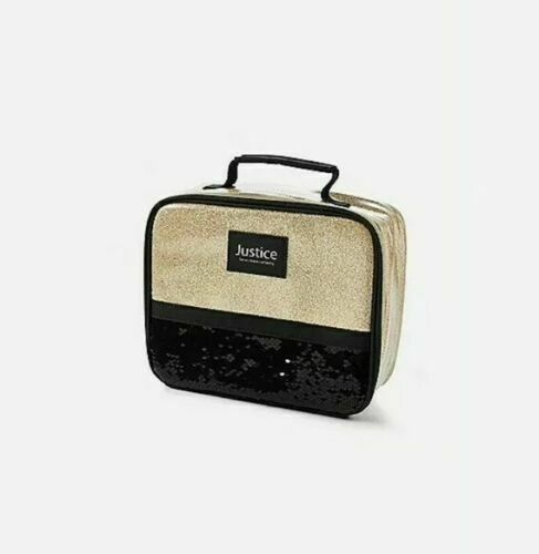 **NEW** Justice Gold Glitter And Black Flip Sequin Lunchbox NWT