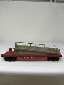 LIONEL-Vintage-6343-BARREL-LOADER-RAIL-CAR-Missing-Load-O-SCALE-A1