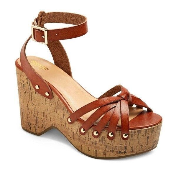 7499a11f49 Mossimo Women Size 8.5 Erie Wood Flatform Cork Style Wedge Sandals Buckle  Strap
