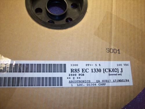 3300pf 100V 5/%  METALLIZED BOX FILM CAPACITORS R85EC1330J ARCOTRONICS 100 QTY