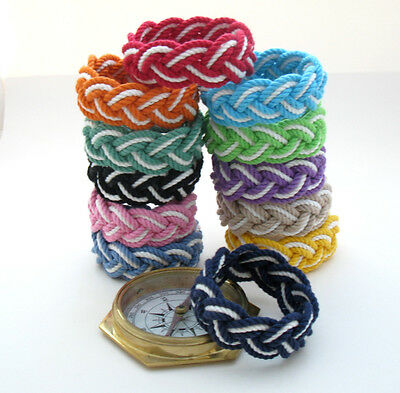 Sailor Rope Bracelet, Nautical Stripe in  12 Colors by Mystic Knotwork: