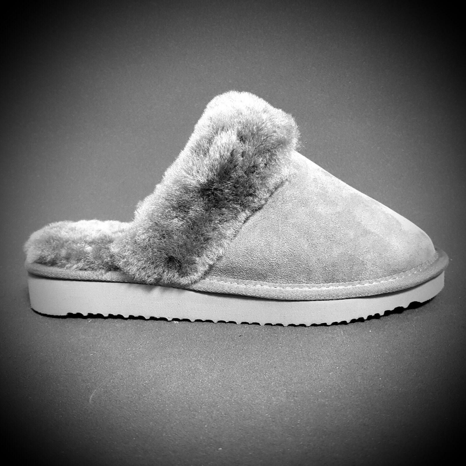 Damen Hausschuhe Lammfell Pantoffel Pantolette grau Leder 100% echt Lammfell Hausschuhe  Neu edf352