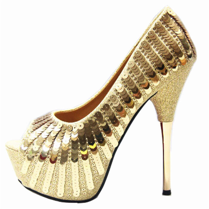 Women Platform super high heel peep toe slip on bling shoes Plus size