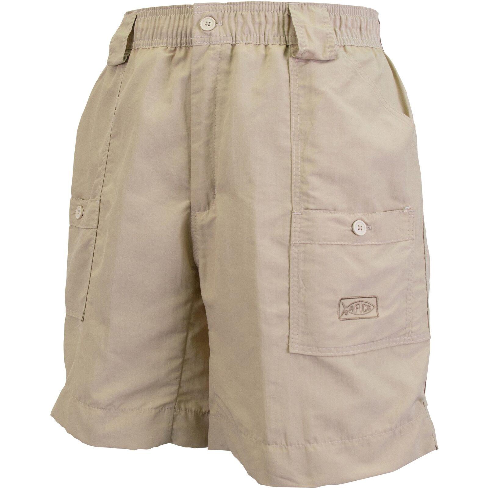 AFTCO M01L Original Long Fishing Shorts - 18  Length- Khaki- Free Ship