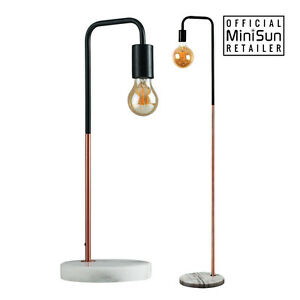 Modern industrial black copper table floor lamp white marble base image is loading modern industrial black copper table floor lamp white aloadofball Images