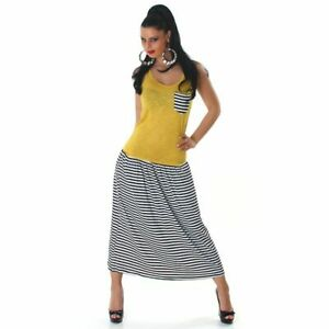 Ladies-Yellow-Tank-Dress-with-Striped-Maxi-Skirt-Breast-Pocket-Casual-Everyday