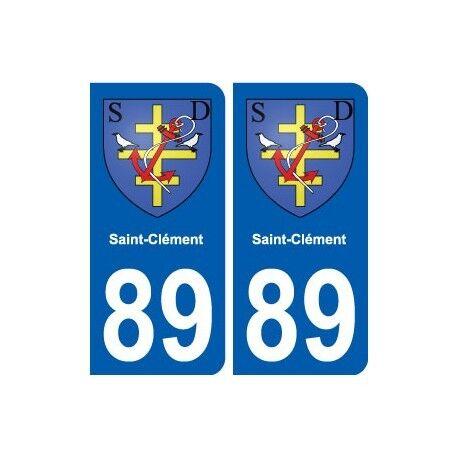 89 Saint-Clément blason autocollant plaque stickers ville arrondis