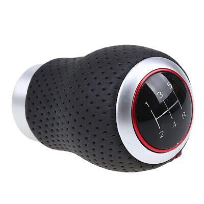 Universal Durable Black Leather Red Stitched Car Gear Shift Knob Shifter Lever