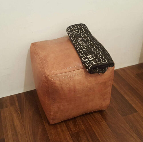 Moroccan Leather Ottoman Pouffe Pouf Footstool Coffee Table in Light Tan