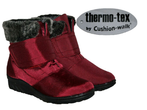 LADIES THERMO-TEX WINE COLOUR WINTER WARM BOOT WITH TOUCH CLOSE STRAP SIZES 3-8