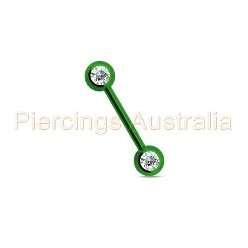Titanium IP Clear CZ Front Facing Nipple Bar Ring CHOOSE SINGLE OR PAIR