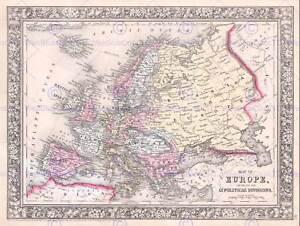 1864-MITCHELL-MAP-EUROPE-VINTAGE-POSTER-ART-PRINT-12x16-inch-30x40cm-2946PY