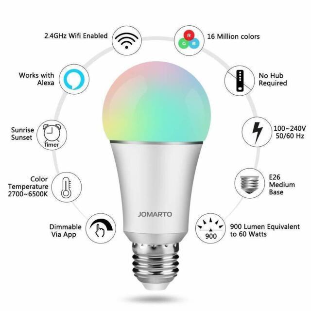 Wifi Light Bulb >> Jomarto Smart Wifi Led Light Bulb 2 Pack Compatible With Alexa Google Home 60w