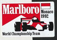 ORIGINAL MARLBORO McLAREN TEAM MONACO GP 1992 SENNA PERIOD STICKER AUTOCOLLANT