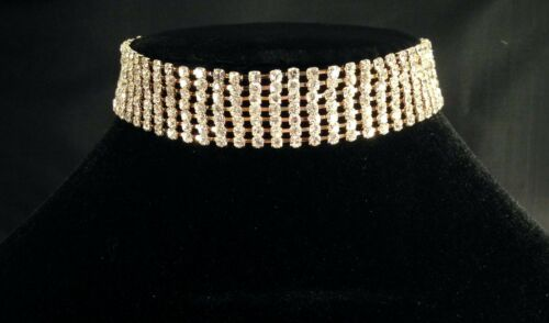 Gold Silver diamante 7 row choker necklace chain bridesmaid prom party SV16-007