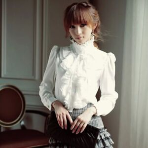 Lady-Vintage-Victorian-Shirt-Long-Sleeve-Ruffle-Trim-Tops-Blouse-Slim-Shirt