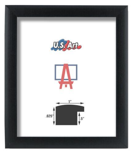 "US ART Frames 1/"" Black Nugget Satin Real Poplar Wood Picture Poster Frame S-6/"""