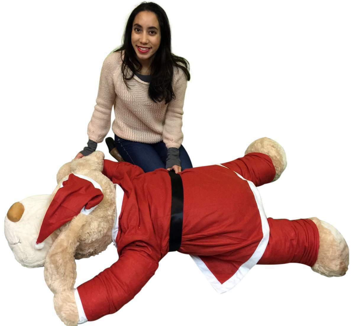 Christmas Giant Stuffed Dog Wears Removable Santa Suit, 5 Feet Long Soft