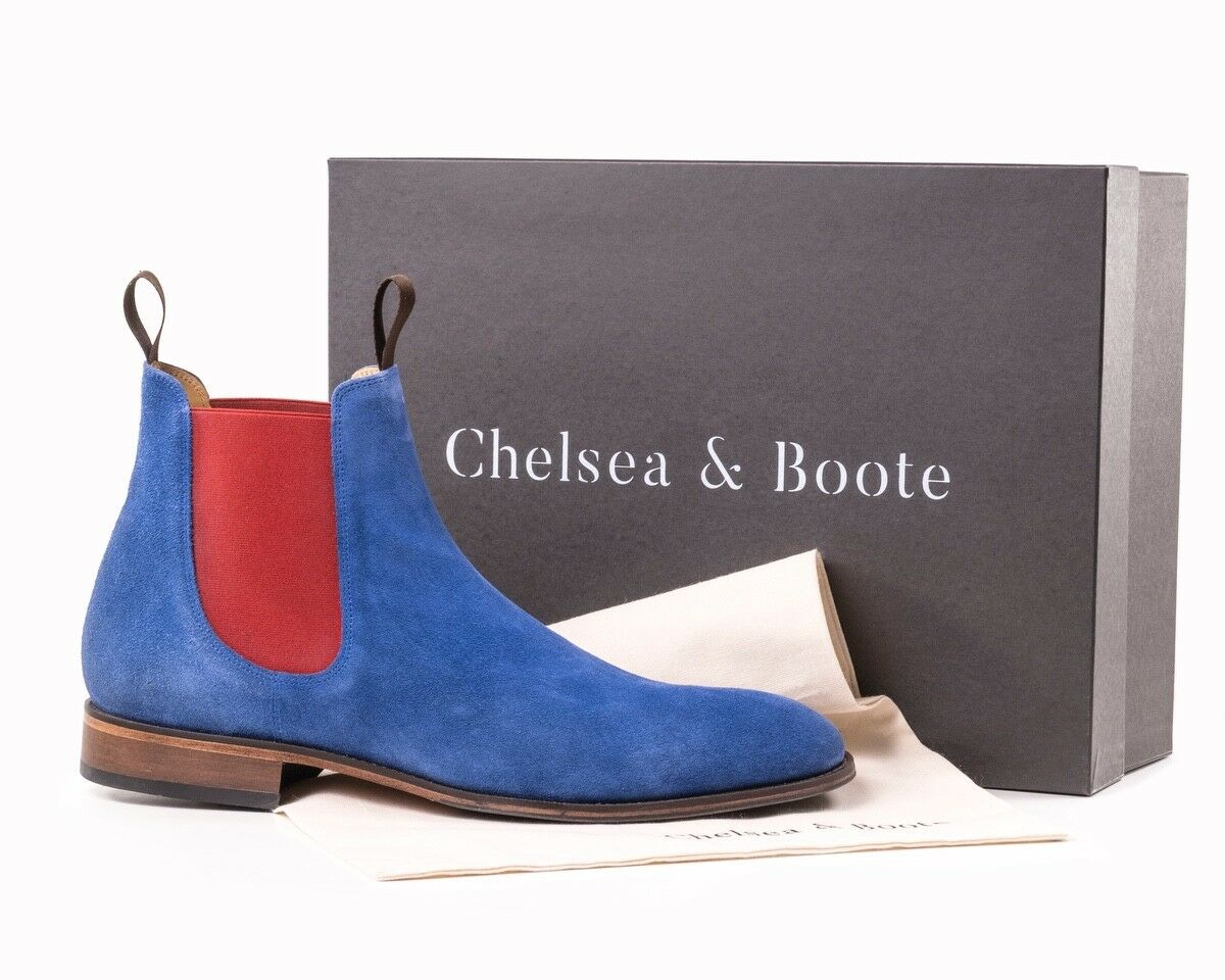Chelsea Boots, bluee, Crimson Red Elastic Size 8 By Chelsea & Boote