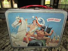 VINTAGE RARE OLD 1957 BRAVE EAGLE RED BAND METAL LUNCHBOX