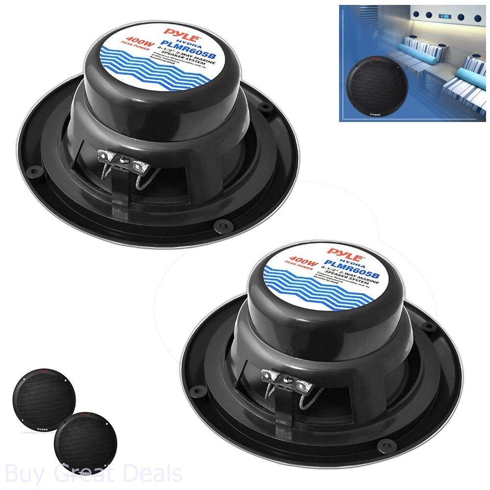 Pyle PLMR605B Dual 6.5/'/' Waterproof Marine Speakers 2-Way Full Range Stereo