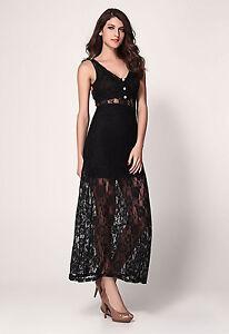 3876ea050 Détails sur Robe longue de soirée Sexy Glamour moulante dentelle  transparente Noire